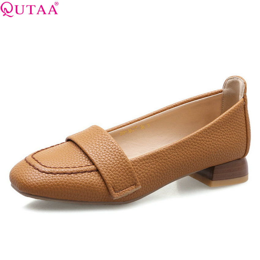 QUTAA 2020 Women Shoes Pu Leather Platform All Match Square Heel Women Pumps All Match Elegant Casual Ladies Pumps Size 34-43