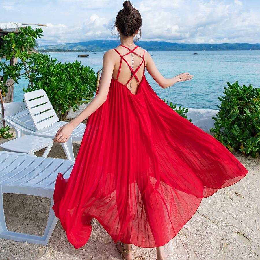 Loose Pleated Long Dress Women Summer Chiffon Backless Sexy Spaghetti Strap Maxi Dress Bohemian Beach Bandage White Dress 2018