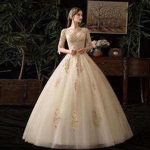 Image 2 - Champagne V Neck Half Sleeve Tassel 2019 New Wedding Dress Lace Applique Custom Made Plus Size Bridal Gown Vestido De Noiva L