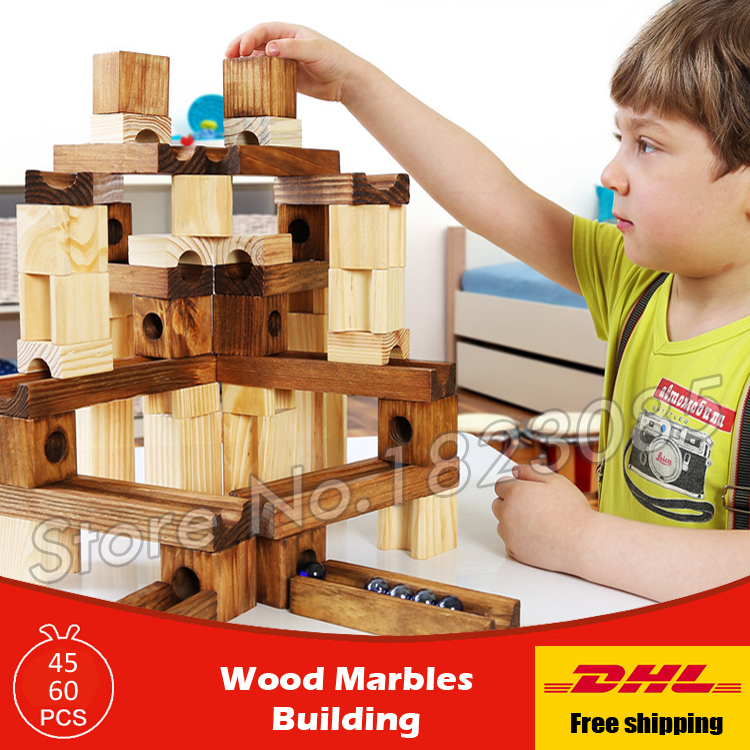 Wood Marbles Building Model Building Blocks Wooden Construction Learning Bricks Baby Toys 2016 Boys Girls Gift elc 100 bricks toy wooden building blocks storage bag confirm to en 71 freeshipping