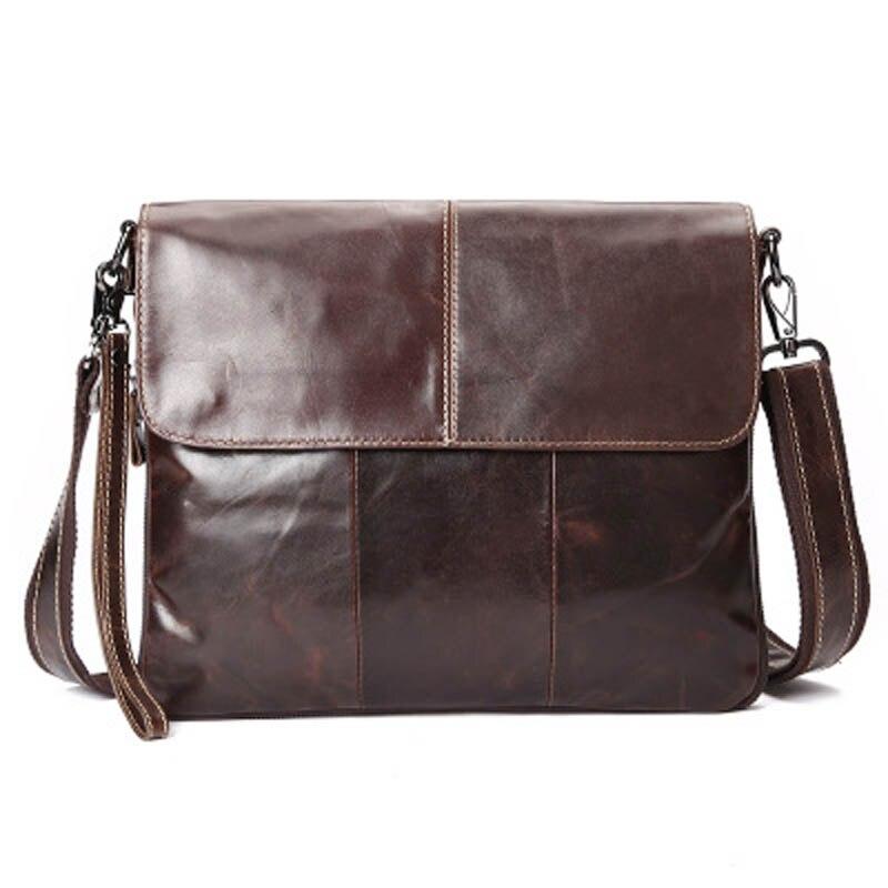YISHEN Simple Oil Wax Leather Men Ipad Bag Man Crossbody Shoulder Bag Men Small Business Bags