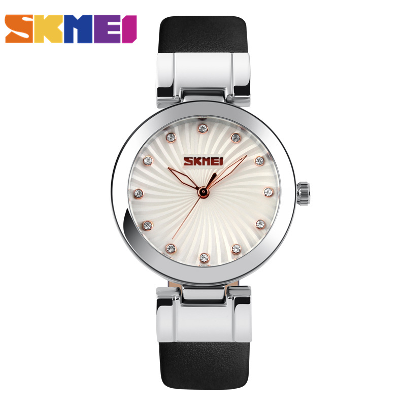 SKMEI Brand Women Fashion Dress Watches Leather Strap Casual Quartz Watch Ladies Student Wristwatches 2017 New Clock 9086 2017 new brand skmei men fashion quartz watch casual business date watches leather waterproof dress wristwatches