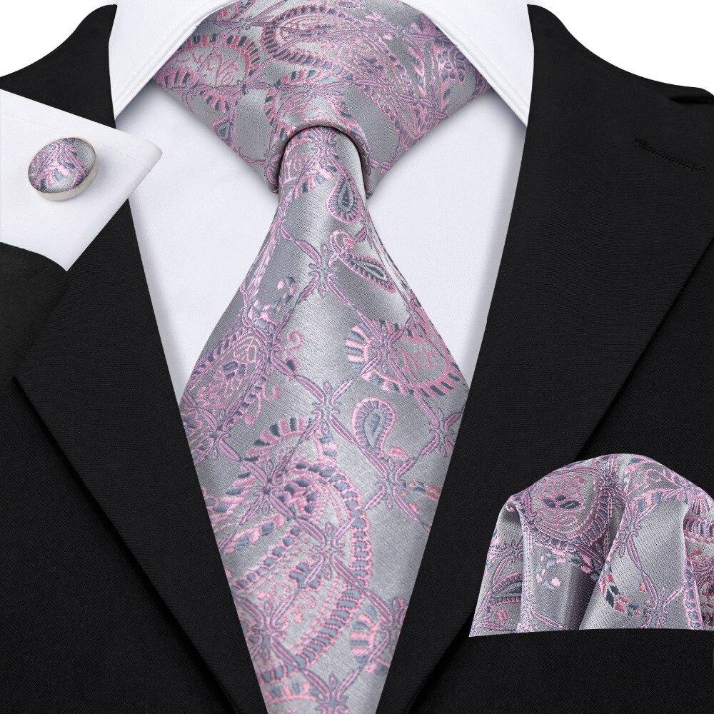 New Classic Pink Paisley Suit Tie 100% Silk Men Tie For Wedding Business Barry.Wang Necktie Handkerchief Mens Dress Ties LS-5058