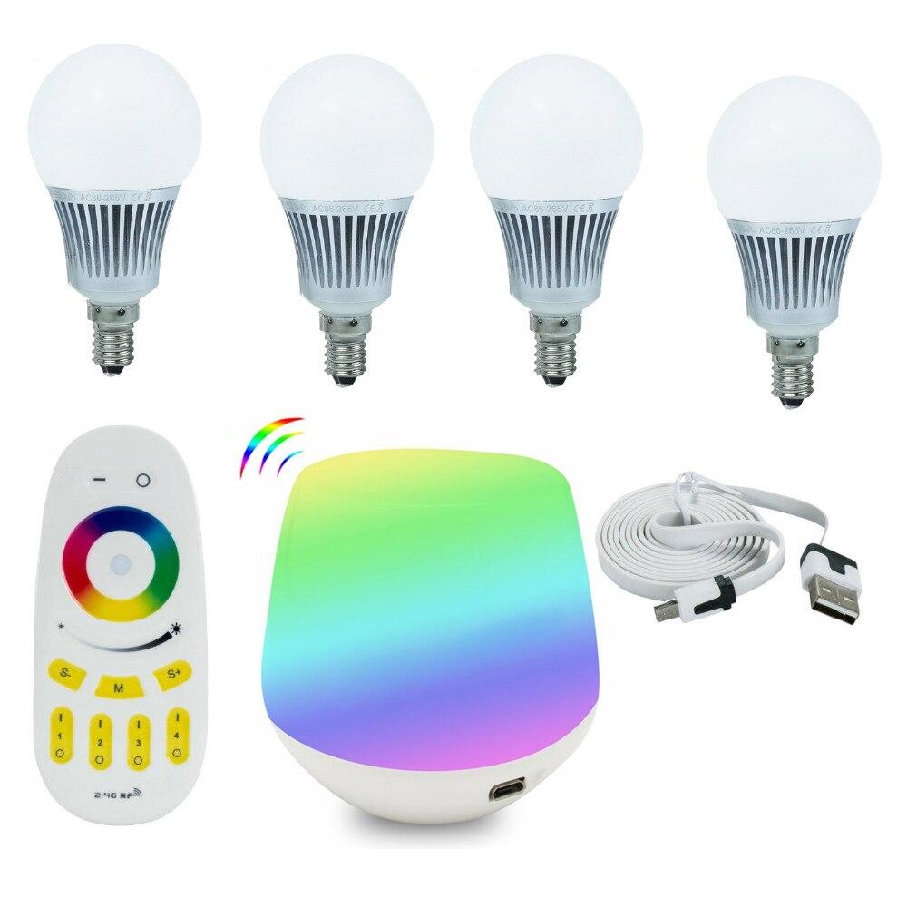 ФОТО Tanbaby 4pcs * Mi.light 5W E14 RGBWW RGBW LED bulbs +  4 zone 2.4G RF remote controller + Wifi controller Magic Home Light