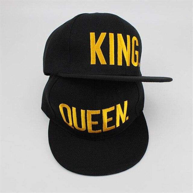 5a5ce6d5667 Baseball Cap Gold KING QUEEN Hats Black Adult Sun Hats Flat brim LOVER Hip  Hop Caps Snap back Adult Custom Hats Adjust Head Size