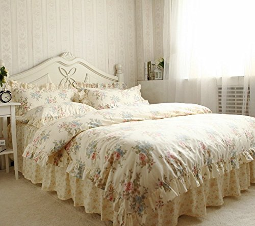 Fadfay Heimtextilien 100 Baumwolle Vintage Blumendruck