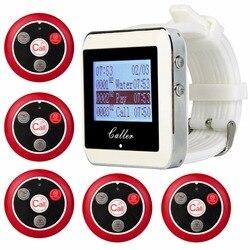 Retekess Restaurant Pager Wireless Calling System System 1 Watch Receiver+5 Call Button T117 Waiter Restaurant Equipment