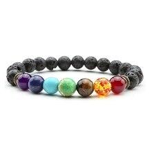 2017 Newst 7 Chakra font b Bracelet b font Men Black Lava Healing Balance Beads Reiki