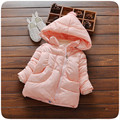 2016 New Arrived Baby Winter Jacket Solid Colour Pink Hooded Winter Coat Thick Warm Girls Kids Winter Jacket For Girls
