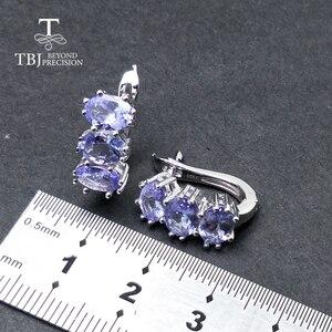 Image 3 - TBJ, küçük romantik küpe doğal tanzanite taş 925 ayar gümüş güzel sevgililer hediye kadınlar için hediye kutusu