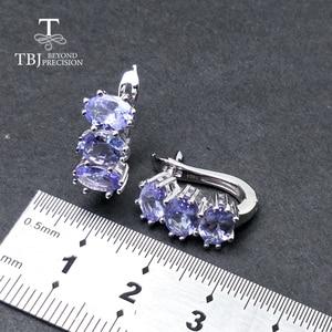 Image 3 - TBJ, קטן רומנטי עגילי עם טבעי tanzanite חן ב 925 סטרלינג כסף יפה ולנטיין מתנה עבור נשים ליידי אריזת מתנה