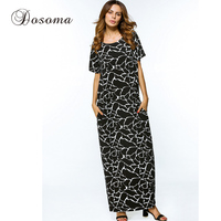 Middle East Abaya Casual Muslim Maxi Dress Print Cotton Loose Style Long Robe Summer Moroccan Burka
