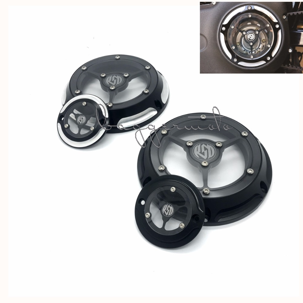 RSD Derby Cover Timing Timer Covers 6 holes CNC Deep Cut Black Chrome Aluminum For Harley Sportster XL 2004 2005-2014 2015 2016 1set motorcycle derby cover timing timer covers cnc aluminum for harley davidson xlh xl 883 883l 1200c 1200l sportster 883n iron
