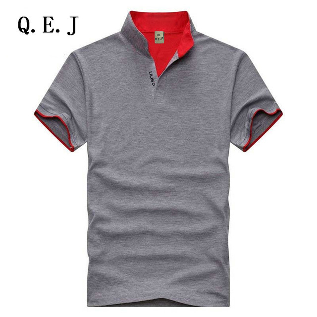 Q.E.J Новый 2016 Марка Твердые Стенд воротник polo Shirt Повседневная Мужчины Лето С Коротким рукавом Camisa Polo Slim Fit Мужчины рубашка