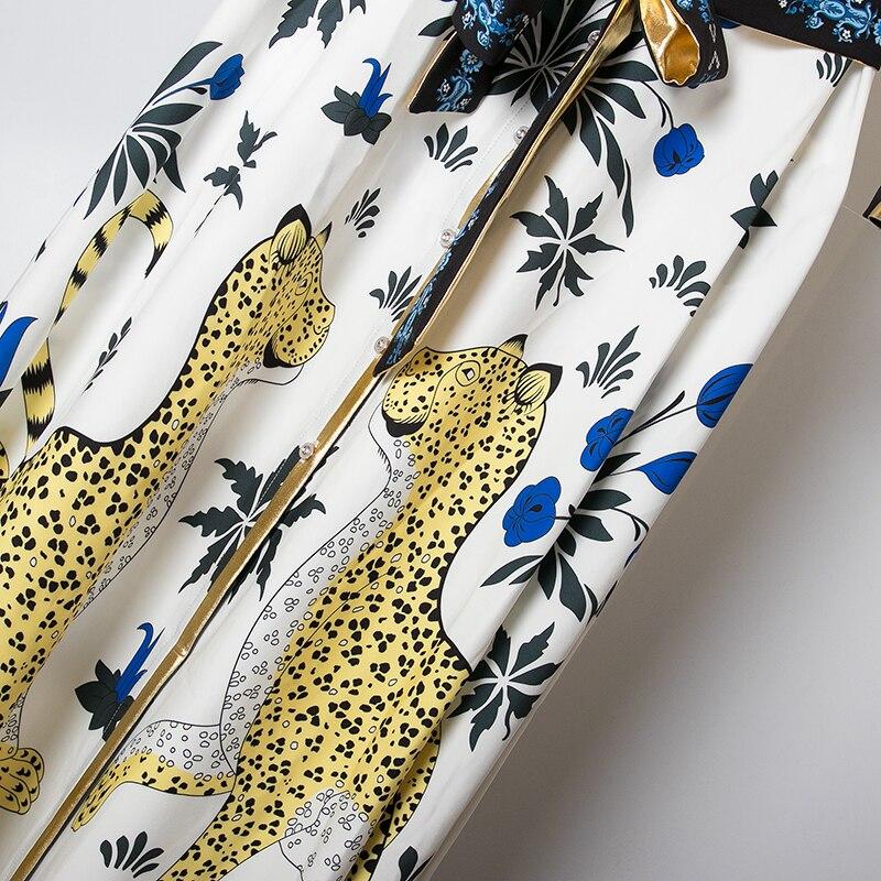 Traje Y Floral Vestido Mujeres Midi Alta Diseño 2019 Camisa Estilo Las De Primavera Calidad Impreso Fajas Blanco Amarillo Moda Vintage qwxB6
