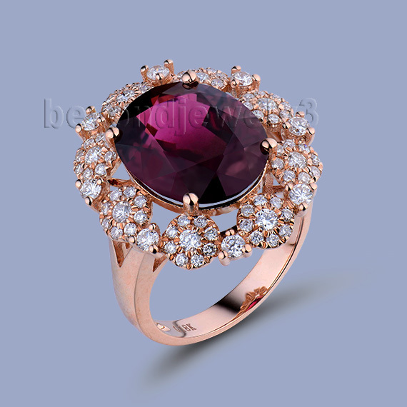 NEW ARRIVAL!!! Fantastic Natural Tourmaline Ring with Dia In18Kt Rose Gold Engagement Ring Oval 10x12mm WU249 new pure au750 rose gold love ring lucky cute letter ring 1 13 1 23g hot sale