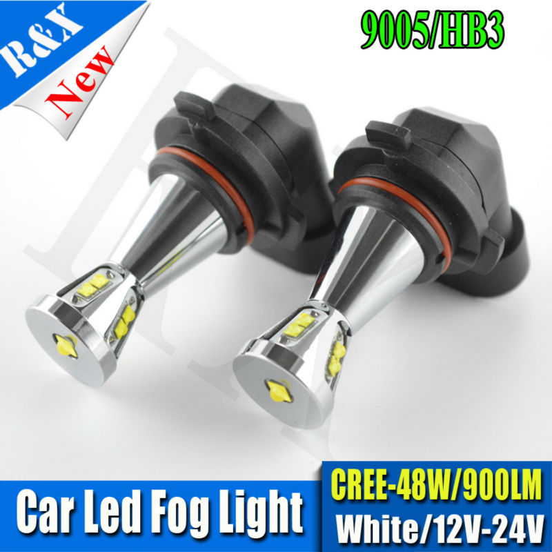 Pair High quality 48W 900LM CRE Chip XBD 9005 LED Front Fog Lights Bulb HB3 Daytime Running Driving Light Fog Lamp 6000K White new arrival a pair 10w pure white 5630 3 smd led eagle eye lamp car back up daytime running fog light bulb 120lumen 18mm dc12v