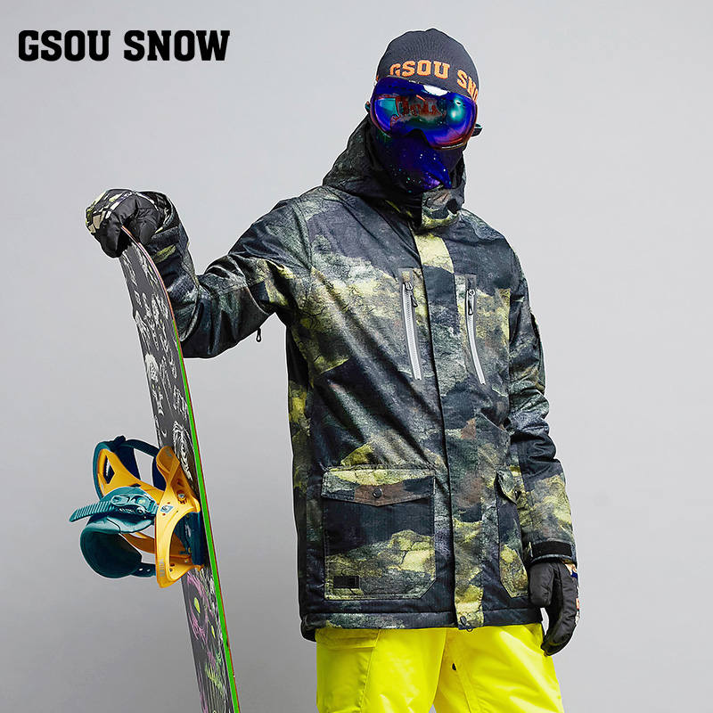2019 Gsou Snow Men Ski Jacket Snowboard Jacket Windproof Waterproof Winter Clothing Thermal Coat Outdoor Sport Wear Male Jacket