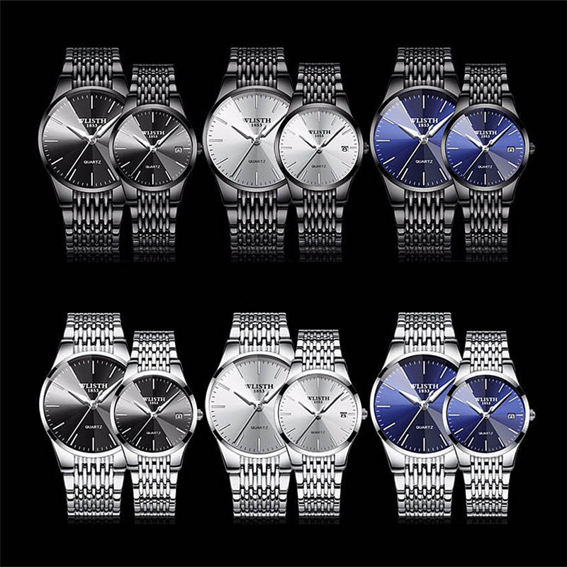 Couple Watches New Fashion Men Women Watch Luxury Brand Stainless Steel Quartz Wrist Watch Lovers Watches Relogios Clocks Gifts
