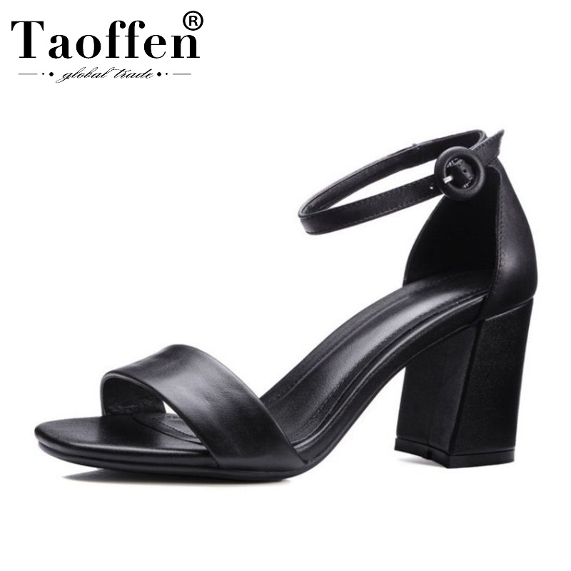 TAOFFEN Real Leather Simple Spring Party Sandals Summer Vacation Wedding Buckle Summer Shoes Women Daily Office Size 33-39TAOFFEN Real Leather Simple Spring Party Sandals Summer Vacation Wedding Buckle Summer Shoes Women Daily Office Size 33-39