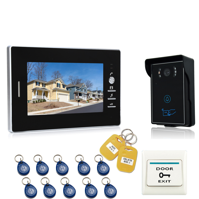 JEX NEW 7`` LCD Video Intercom Entry Door Phone System 700TVL Touch Key Waterproof RFID Access Camera FREE SHIPPING