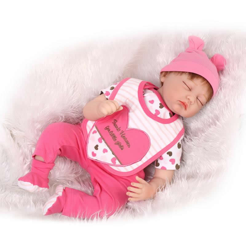 Sleeping 22 Inch Reborn Baby Dolls Girl Silicone Soft Princess Newborn Babies Cloth Body Toy Kids Birthday Christmas Gift hot sale 2016 npk 22 inch reborn baby doll lovely soft silicone newborn girl dolls as birthday christmas gifts free pacifier