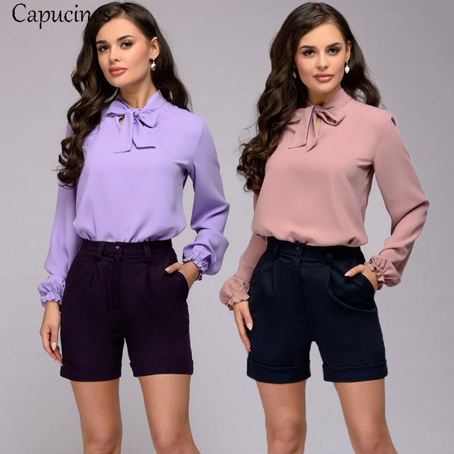 Capucines Elegant Bow Tie Women Shirt Spring Autumn Ladies Solid Long Sleeve Chiffon Shirts Casual Blouses Vintage Tops Blusas