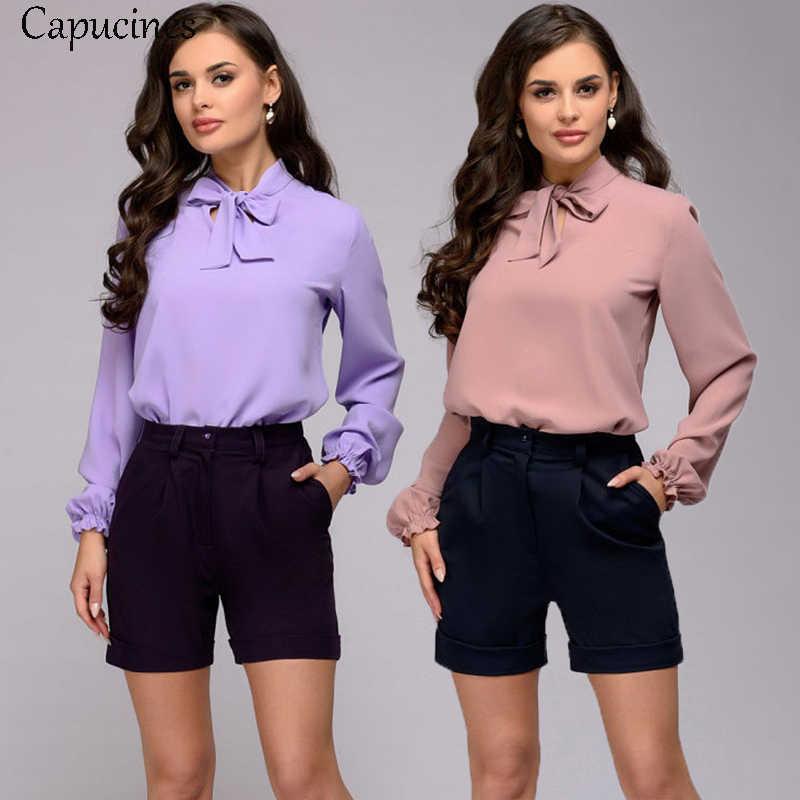 Capucines Elegant Bow Tie เสื้อผู้หญิงฤดูใบไม้ผลิผู้หญิงฤดูใบไม้ร่วงแขนยาวเสื้อชีฟองเสื้อลำลองเสื้อ VINTAGE Blusas