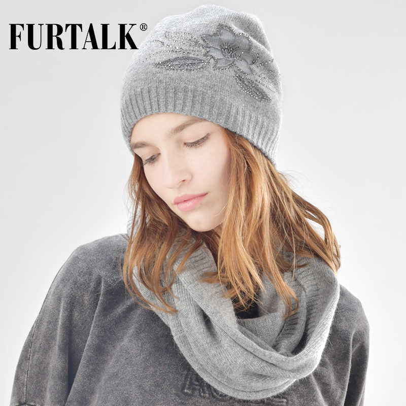 c028dac00585df FURTALK cashmere and rabbit fur beanie winter hat scarf for women hat and  scarf set SFFW029