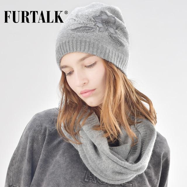 FURTALK cachemire et de fourrure de lapin bonnet d hiver chapeau écharpe  pour femmes chapeau deb04f0a910