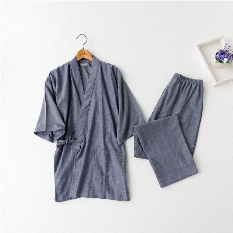 Japanese Kimono Suits For Men Hot Sale Cotton Short Sleeve Pajama Sets Traditional Yukata Men Lounge Bathrobe Sleepwear 121401