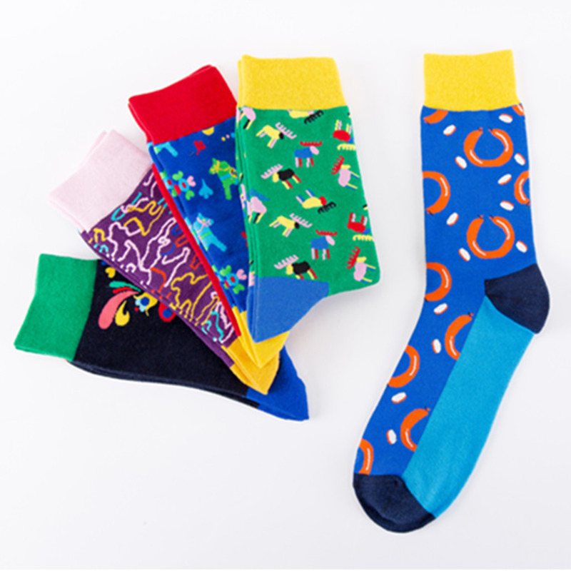 Devoted Peonfly Fashion Printing Colorful Lines Fireworks Cartoon Sausage Horse Deer Male Personality Happy Street Popular Cotton Socks Harmonious Colors Underwear & Sleepwears