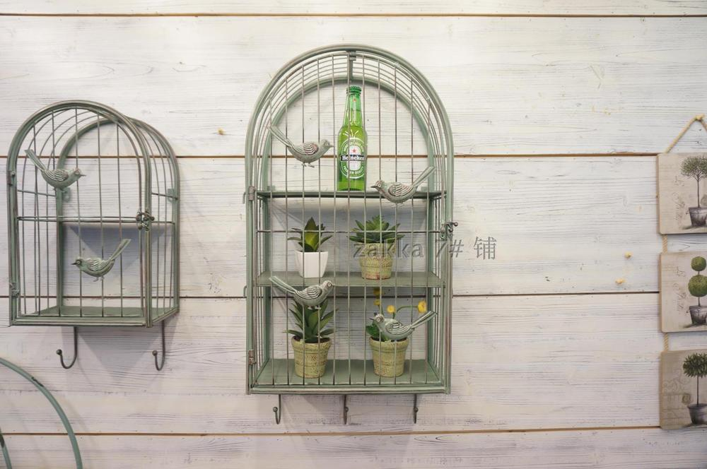French village vintage wrought iron bird cage decorative wall flower wall hangings home  ...