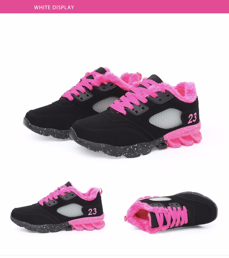2017 Fashion Winter Women Casual Shoes Plush Warm Sport Low Top Women Shoes Black Pink Breathable Lace Up Woman Trainers YD165 (21)