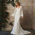 Чешские свадебное платье свадебное платье 2016 В - шеи спинки свадебное платье с длинным рукавом кружева свадебное платье Vestido Novia винтаж
