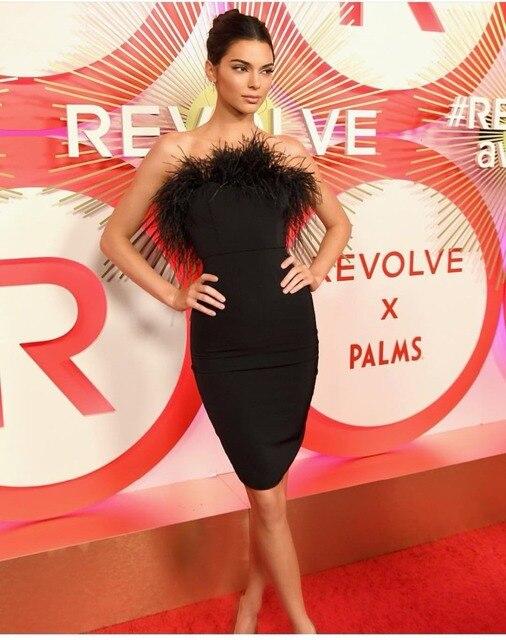 DEIVE TEGER New Fashion Kendall Jenner Elegant feathers off shoulder sexy Bandage dress Celebrity Sheath Vintage Dress