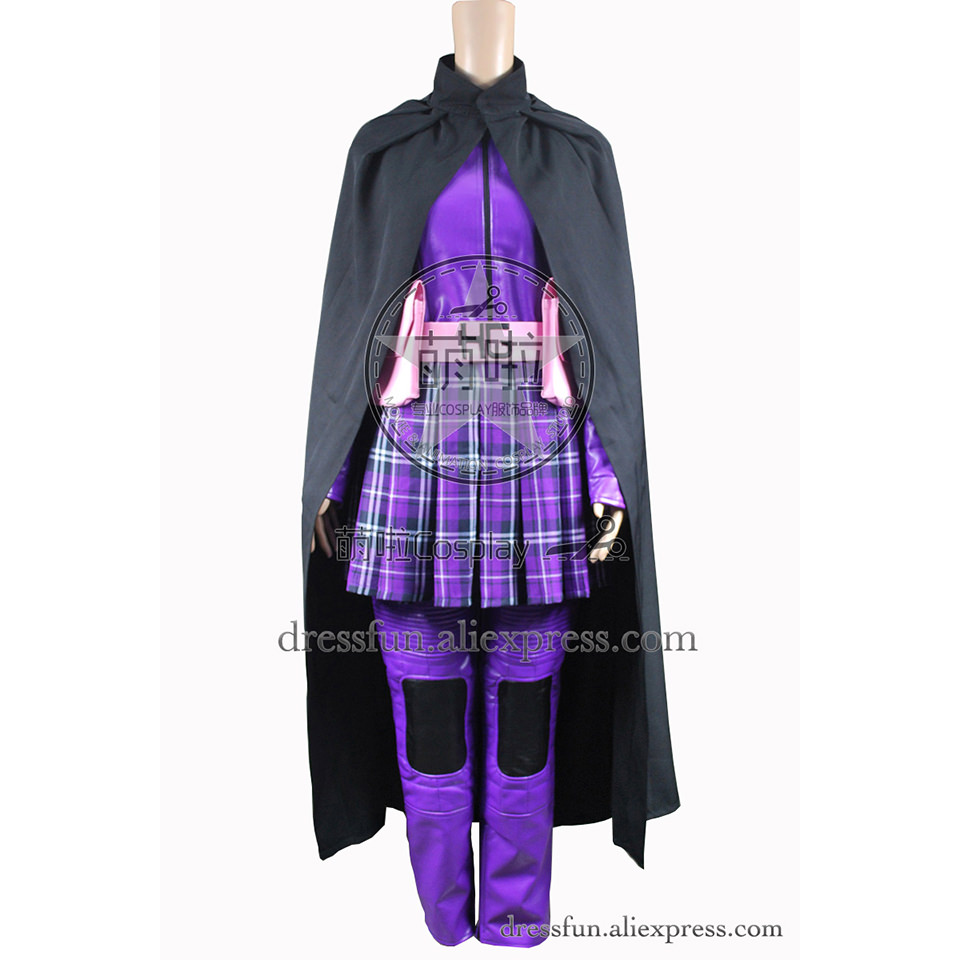 Kick-Ass Cosplay Hit Girl Costume Purple Leather Suit Uniform Outfits Jacket Skirt Robe Halloween Fashion Party Fast Shipping