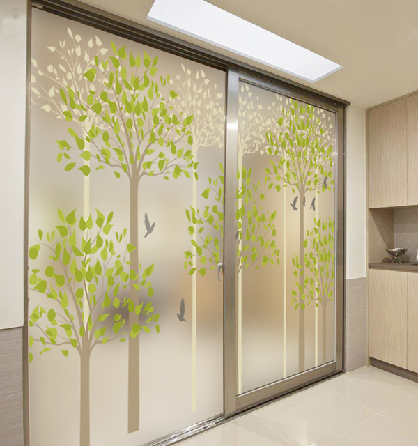 Decorative Self Adhesive/static Cling Stained Window Film Custom Sticker  Office Glass Bathroom Sliding Door