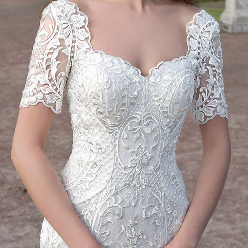 Sweetheart Wedding Dress With Cap Sleeves: Eslieb Sweetheart Lace Mermaid Wedding Dresses Cap Sleeves