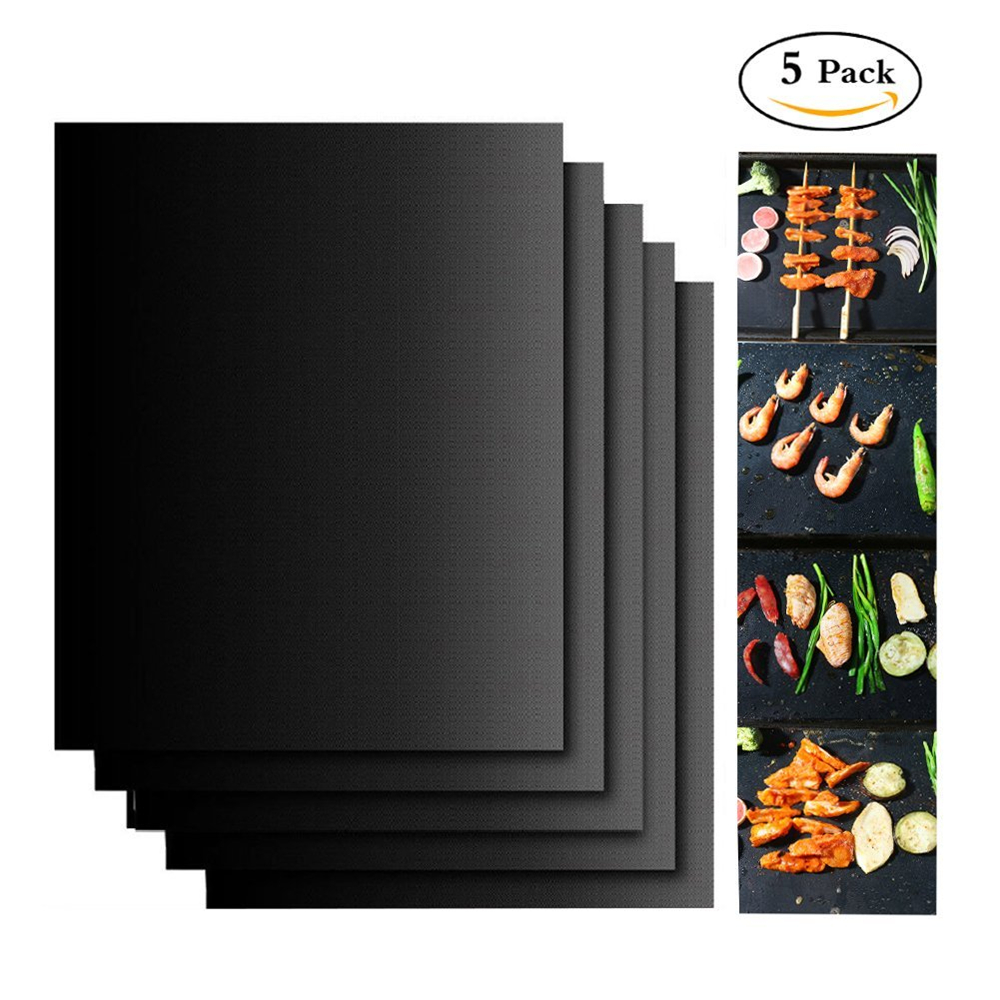 5pcs Set Reusable BBQ Grill Mat Pad Sheet Hot Plate Portable Easy Clean Nonstick Bakeware Cooking