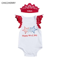 Happy 4th Of July Toddler Girl Outfits Crown Infant Lace Bodysuit Headband Set Body De Bebe