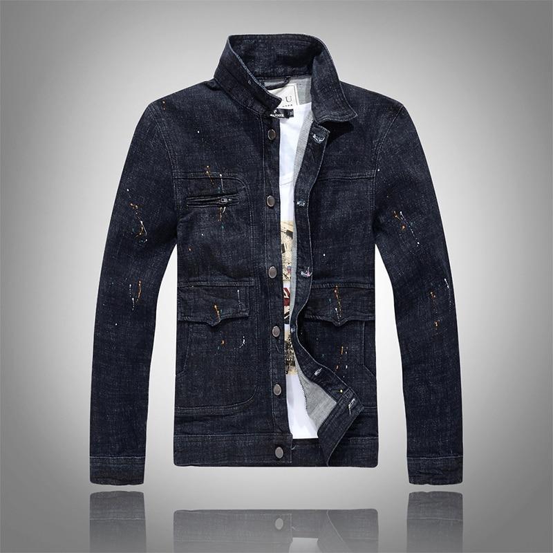 2018 Men New Denim Jacket Slim Male Washed Jean Coats Black Ink Splash Long Sleeve Spring and Autumn Outerwear Fashion Street