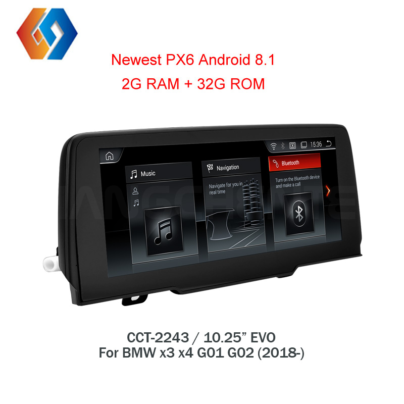 Px6 Android 8.1 For BMW X3 X4 G01 G02 2018 EVO With 6 Core CPU LPDDR4 2G RAM Built in WiFi Bluetooth TV Touch Screen Unit 43