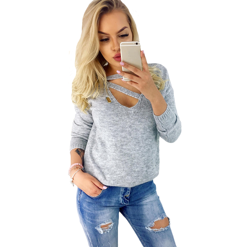 Autumn Winter Long Sleeve Knitted Women Pullover Sweater Casual Solid V neck Knit Female Jumper Sweaters Pull Femme S-XXL
