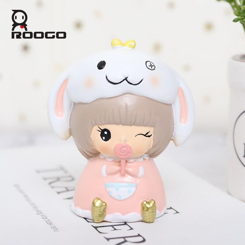 Roogo Resin Home Sweetheart Baby Decoration Accessories Creative Modern Miniature Figurines Desktop Bedroom Cute Garden Decor