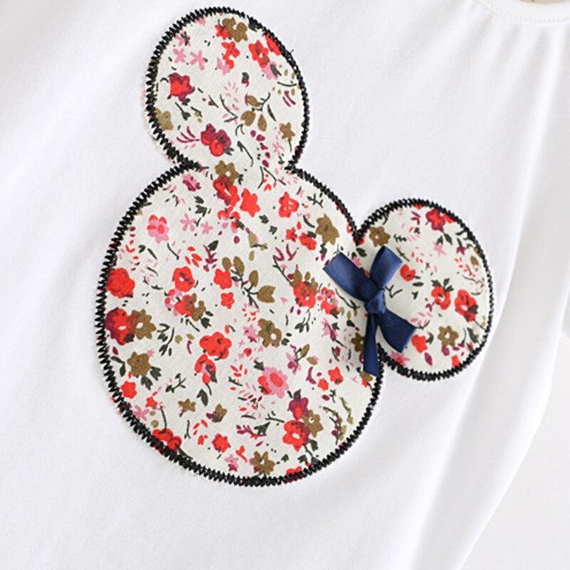 Retail 2017 Summer New Kids Girls Clothing Set Mickey Bear Tops + Floral Dress Girls Suits Set Summer Children Girl Clothes