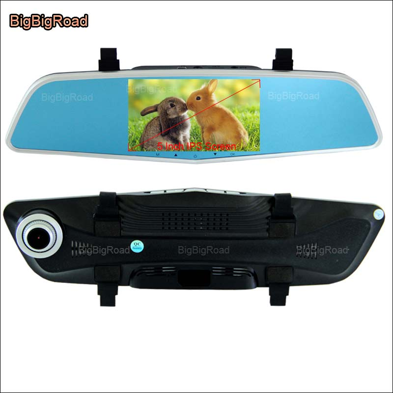 BigBigRoad Car Rearview Mirror DVR Video Recorder Dual Cameras Novatek 96655 Car Black Box 5 Inch IPS Screen For chery tiggo 5 bigbigroad for chevrolet orlando car rearview mirror dvr video recorder dual cameras novatek 96655 5 inch ips screen dash cam