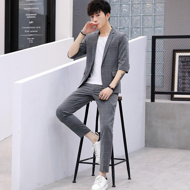 Marriage suit mens Korean version Plus Size 3xl Two pieces set Half Sleeve jacket+pants Plaid wedding leisure
