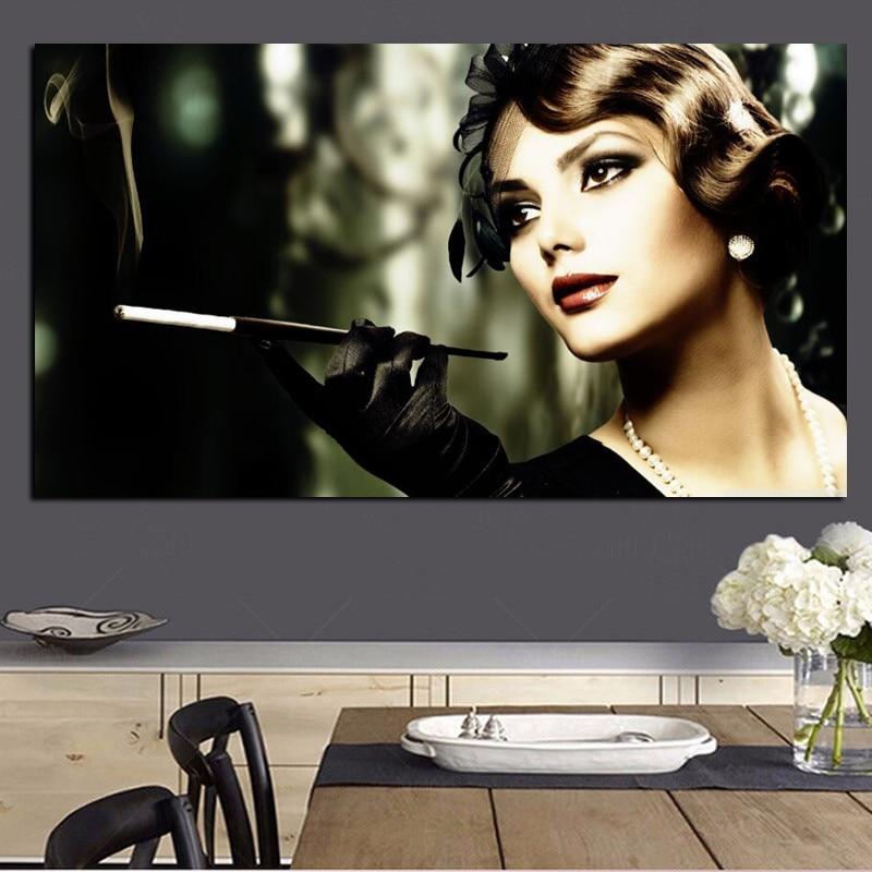 오드리 헵번 그림 HD 인쇄 소녀 담배 담배 여자 캔버스 팝 아트 포스터 벽 그림 거실 Cuadros 장식