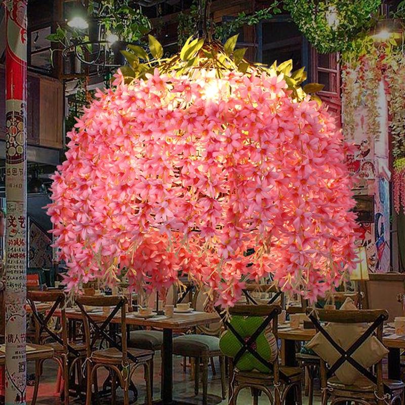 Novelty Art Deco Pendant Lights pink artificial flower lighting fixtures decorative bar restaurant cafe fashion Pendant lamps t shirt w logo miss blumarine t shirt w logo